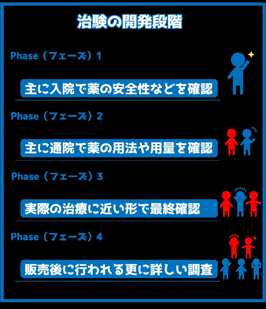 治験の開発段階(フェーズ)